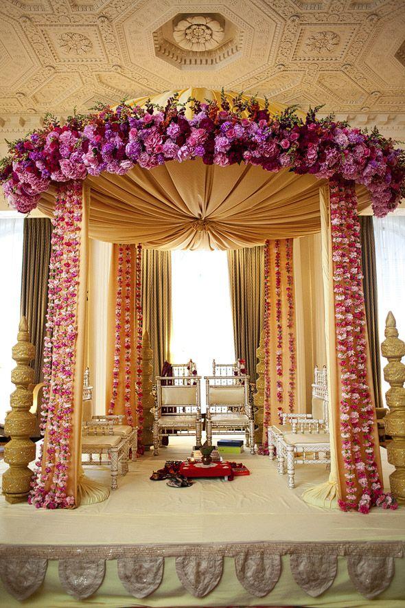 Purple Mandap, floral mandap, wedding alter, chuppah, round mandap by Floralia Decorators - suspended