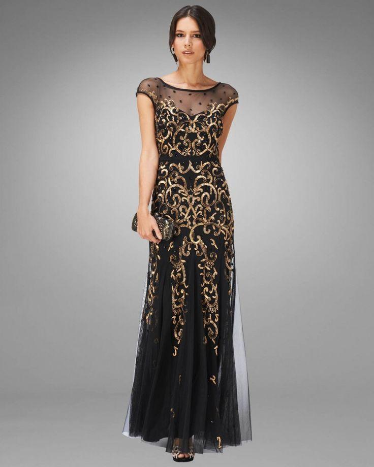 Gold clara embellished full length dress