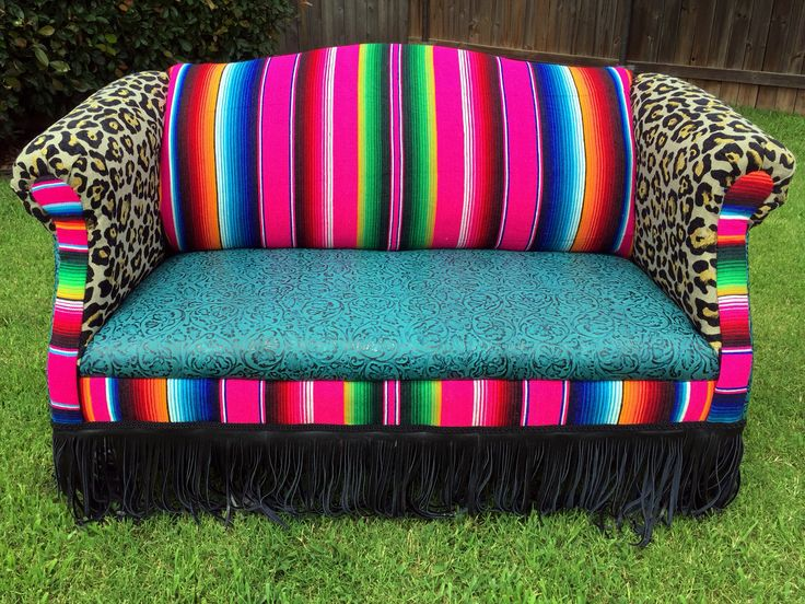 Colorful loveseat by Red Dirt Revivals in Southwest, OK!