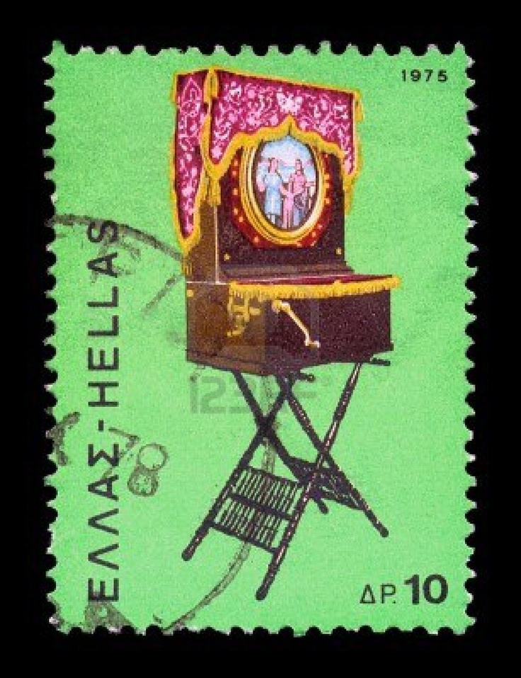 Greece--circa-1975-vintage-postage-stamp-with-traditional-greek-laterna-music-box-portable-barrel
