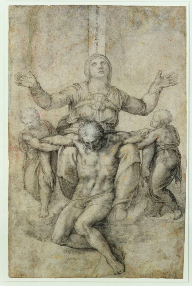 Michelangelo Buonarroti - Pietà per Vittoria Colonna.  La Pietà per Vittoria Colonna è un disegno a gessetto su carta (28,9x18,9 cm) di Michelangelo Buonarroti, databile al 1546 circa e conservato nell' Isabella Stewart Gardner Museum a Boston.
