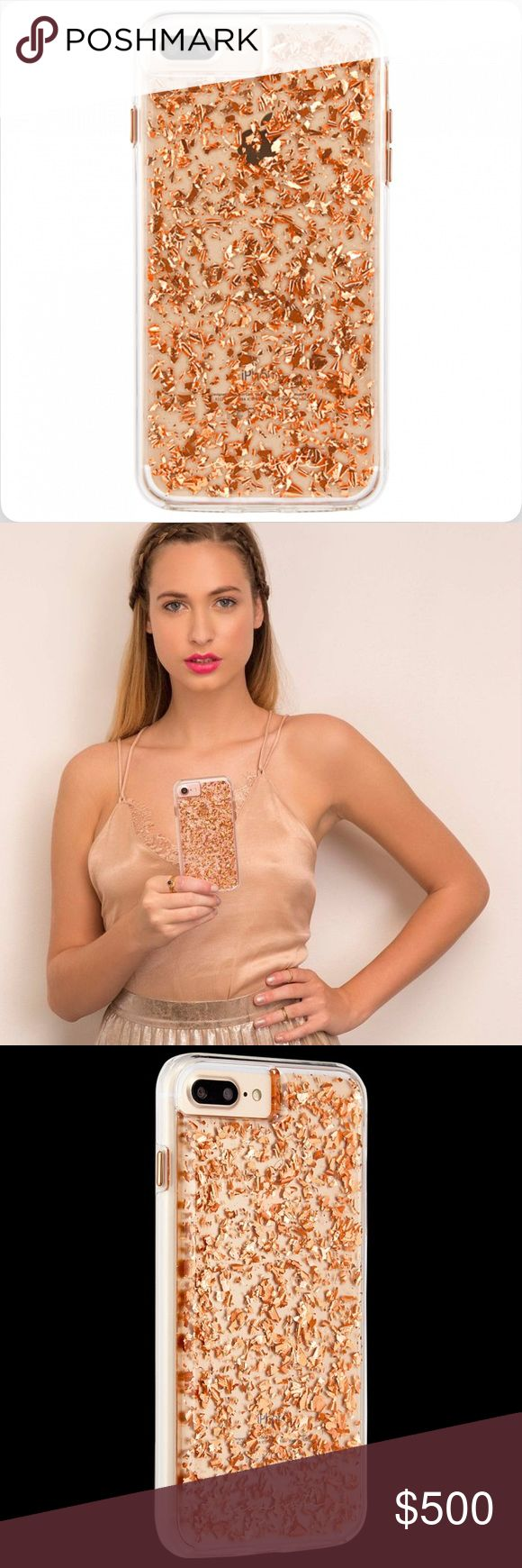 Casemate 24 Karat Rose Gold iPhone Case - NWOT Inspired by the chic lucite handbags of the 1950s and 1960s, this iPhone 7 Plus case will step up your shine game with metallic rose gold elements encased in clear resin.  Metallic rose gold highlights Military strength impact protection* Dual layer protection with a slim silhouette Shock absorbing bumper Anti-scratch technology Refined metallic buttons *This case is certified to meet or exceed  MIL-STD-810G drop test standards. Casemate…