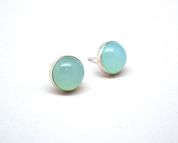 Sterling silver and aqua chalcedony studs by AnnieLesperance, $40.00