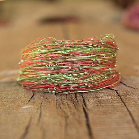Bracelet Pink Mint Green Summer Jewelry Linen Magnetic