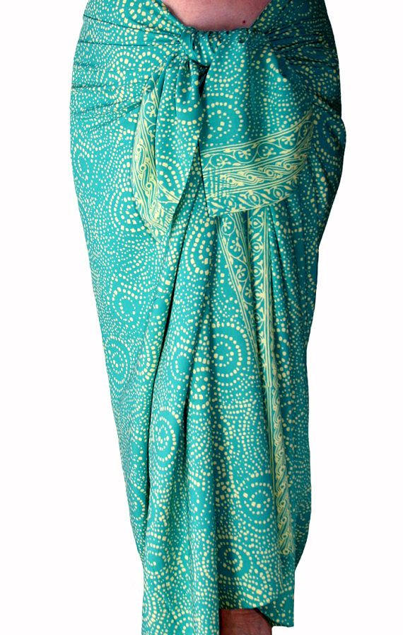 Aqua Green Cream Beach Sarong Cover Up Batik Pareo Mens Or Womens Clothing Wrap For After Surf Beachwear Starry Nite