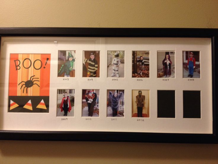 "Put your kids' Halloween costume photos into one of those ""school days"" frames and display them every October. A great and fun way to watch your kids grow up!"