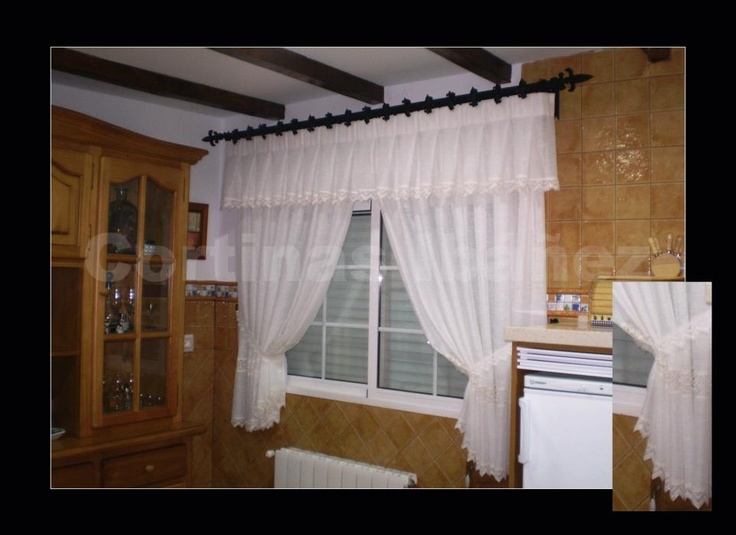 Cortina de cocina con volante confeccionado a tablas el visillo tiene entred s y puntillas de - Anillas de cortinas ...