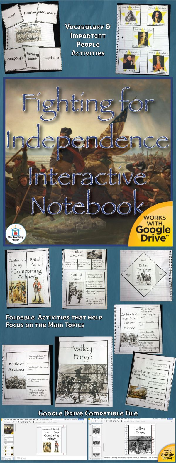 Fighting for Independence Interactive Notebook, which works for both print and Google Drive™, investigates and helps gain understanding of of several important battles of the Revolutionary War and how Americans handled the hardships with some help from other nations. Geared as a unit in the 5th grade study of United States History.