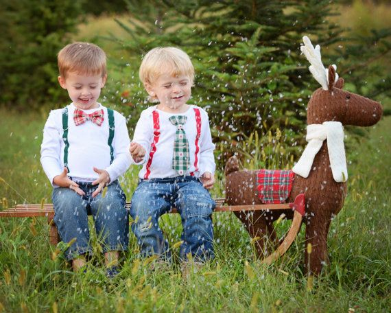 Rustic Christmas Outfit. Toddler Boy Christmas Shirt. Baby Christmas Tie. Bowtie bow tie and suspender. Christmas tree tie.