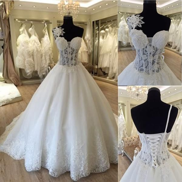 Unique Design One Shoulder See Through A Line Lace Tulle Wedding Dresses WD0172