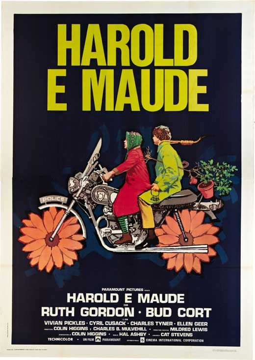 "Harold And Maude (1971), by Hal Ashby. ""The idiosyncratic American fable fashioned what would become the cult classic of its era. The story of the emotional & romantic bond between a death-obsessed young man (Bud Cort) from a wealthy family and a devil-may-care, bohemian octogenarian (Ruth Gordon). Equal parts gallows humor and romantic innocence, Harold and Maude dissolves the line between darkness and light along with the ones that separate people by class, gender, and age."" & Cat Stevens."