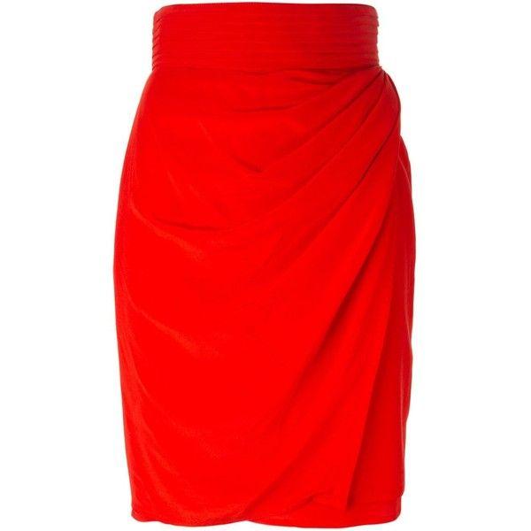 Versace Vintage Draped Pencil Skirt found on Polyvore