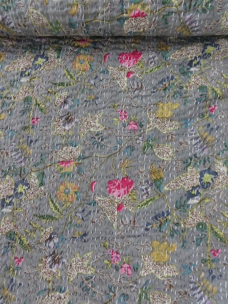 Printed Fabric Kantha Quilt, Grey Bedspread, Handmade Kantha Bedding, Queen Size #Handmade #ArtsCraftsMissionStyle