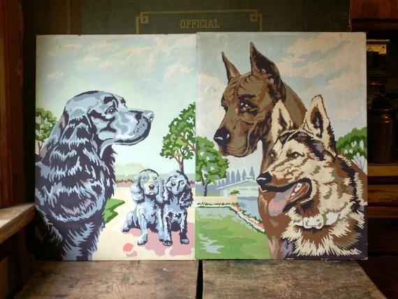 Vintage German Shepherd And Great Dane Paint By Number Great
