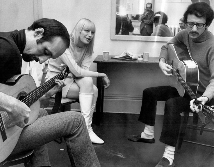 """""""Vintage Toronto ~ 1967: """"Peter Yarrow, Mary Travers and Paul Stookey warm up in dressing room before their show at Massey Hall last night. """""""