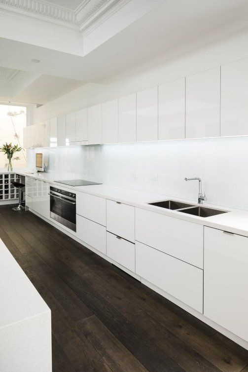 Masters Kitchens - Fuji White Keep it clean. Bring brightness to your kitchen with modern, high-gloss acrylic white finishes in the Fuji White range. The result? Striking 3D glass-effect edging.