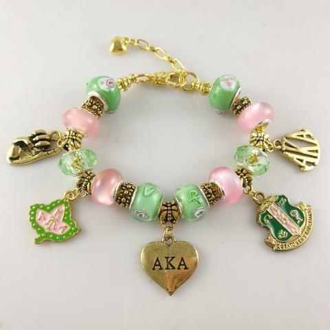 Alpha Kappa Alpha Pink Green & Gold Charm Bracelet - Letters Greek Apparel - Black Greek Paraphernalia