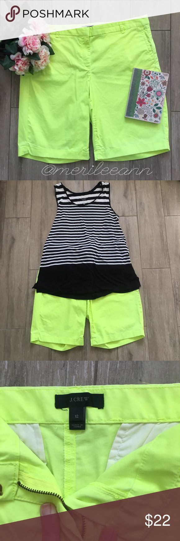"""J. Crew Bermuda Neon Yellow Shorts Brighten up your wardrobe with these fun, neon Bermuda shorts. Looks great with chambray, black, and white or fun patterns are great too. Lightweight. Pockets front and back. J. crew flagship, not factory. In excellent condition. ✨Measures: Inseam 9"""", 10"""" rise equals Mid to high rise on most. J. Crew Shorts Bermudas"""