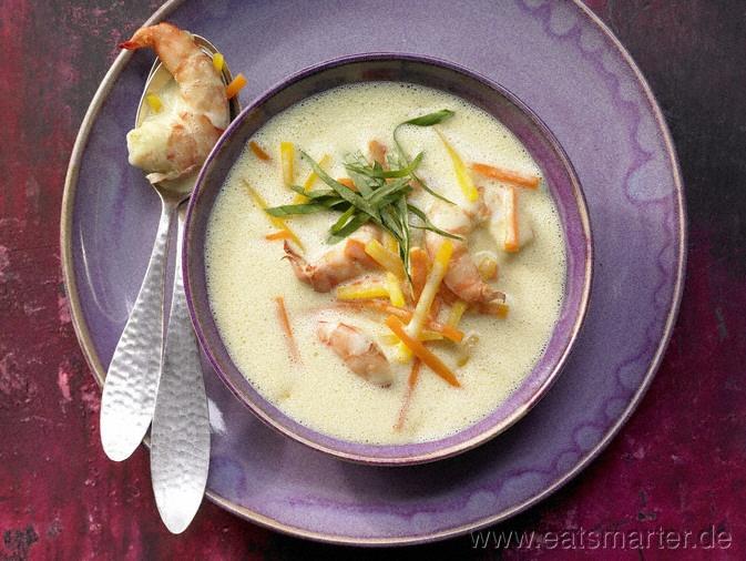 Ingwersuppe - smarter - mit Garnelen, Möhren und Kürbis. Kalorien: 214 Kcal | Zeit: 40 min. #starters #soup