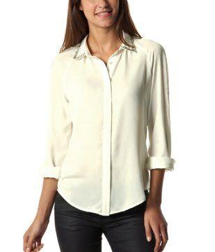 Beaded collar shirt