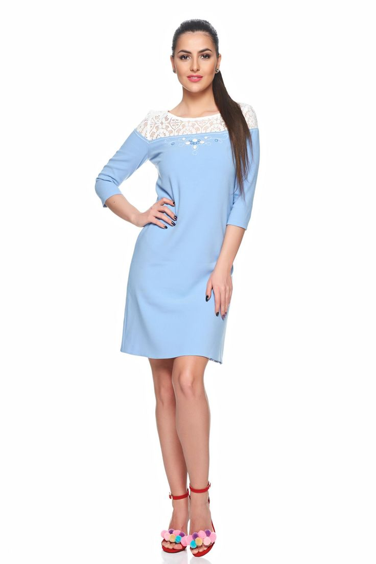 LaDonna Stylish Joy LightBlue Dress, handmade applications, they may vary, laced fabric, back zipper fastening, nonelastic fabric, 3/4 sleeves, inside lining