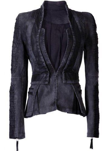 Lookbookstore Women Denim PU Leather Contrast Zip Sleeves Pleated Tuxedo Top Jacket Blazer Grey US 4 LookbookStore http://smile.amazon.com/dp/B00DNUGNNC/ref=cm_sw_r_pi_dp_Y4F9tb1C8KWJ5