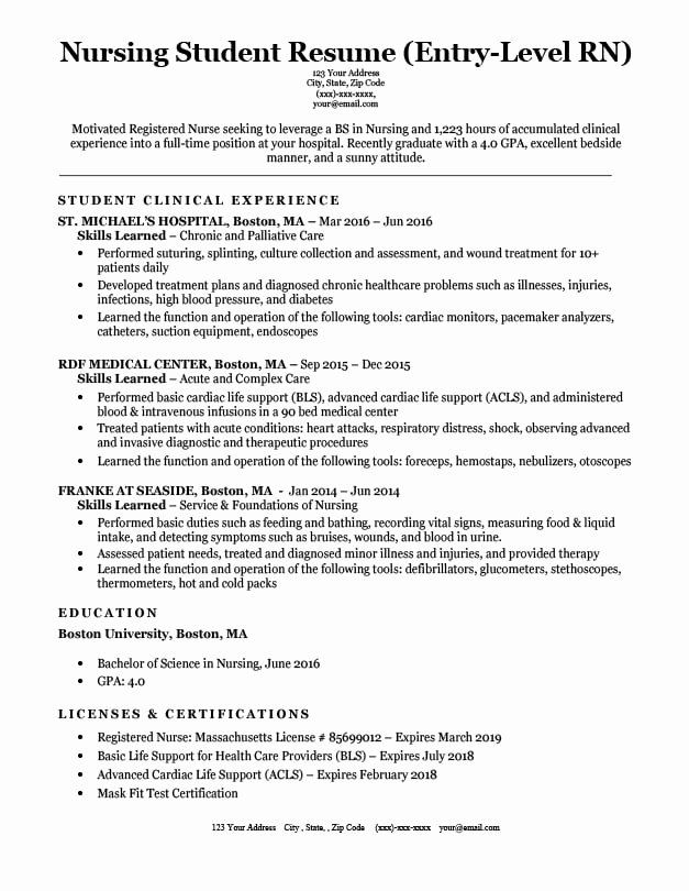 Nursing Student Resume With No Experience Beautiful 39 With Rpn Resume Samples Resume Format In 2020 Nursing Resume Examples Student Resume Nursing Resume Template