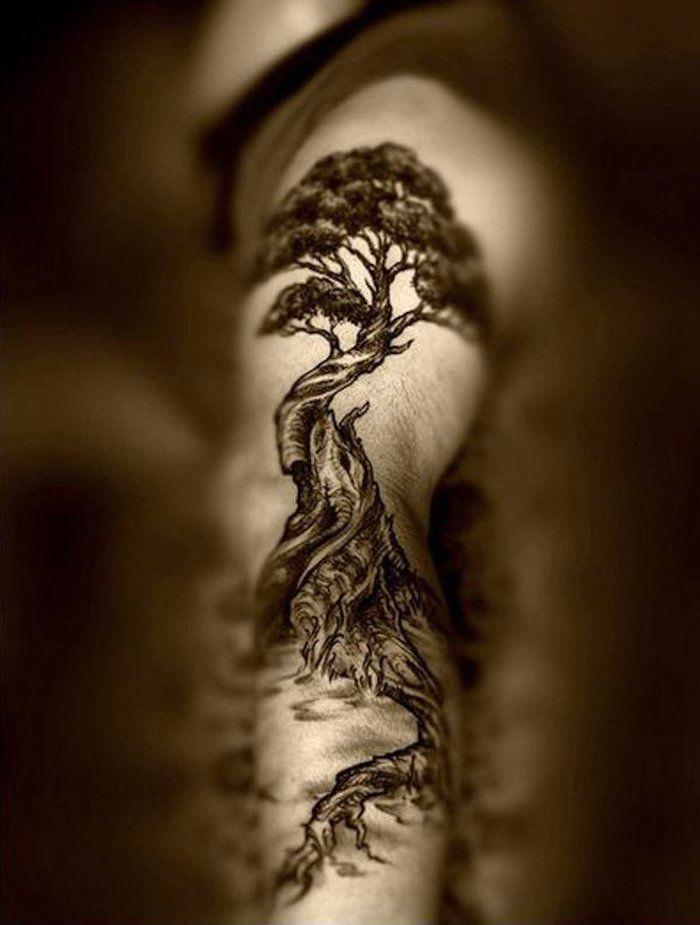 Ein Grosser Baum Mit Langem Wurzel Als Lebensbaum Tattoo Am Arm