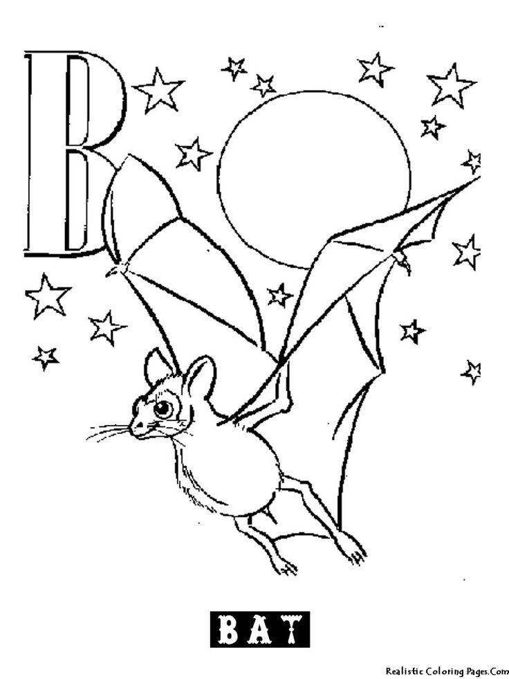 Animal Alphabet B Bat Coloring