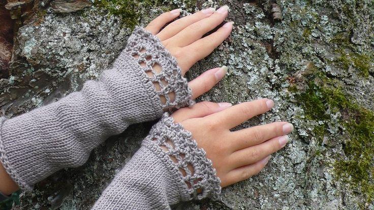 Armstulpen, Handstulpen, Stulpen mit Seide von Silbergloeckchen auf DaWanda.com
