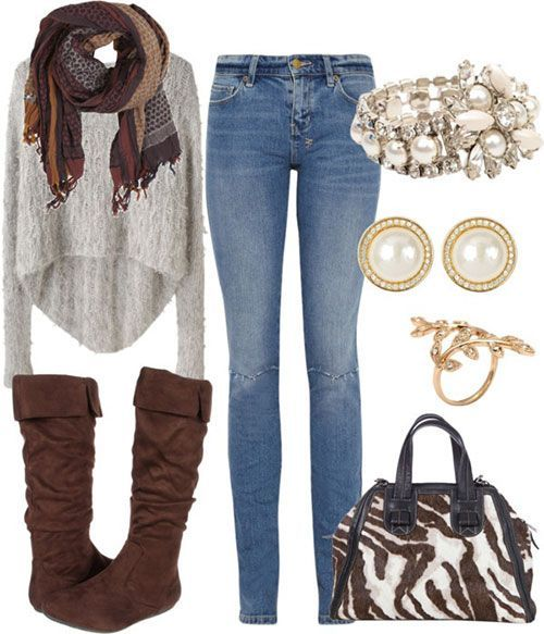 #outfits #winter / Knit Scarf + Tall Boots
