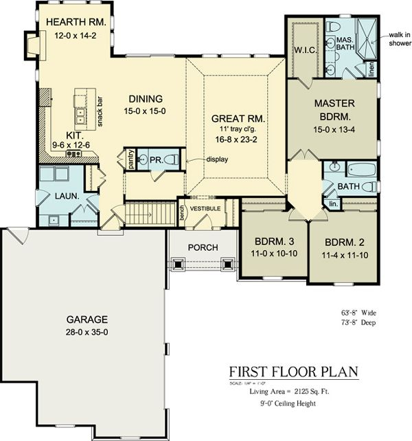 First Floor Plan Of Ranch House Plan 54037 Skip Hearth