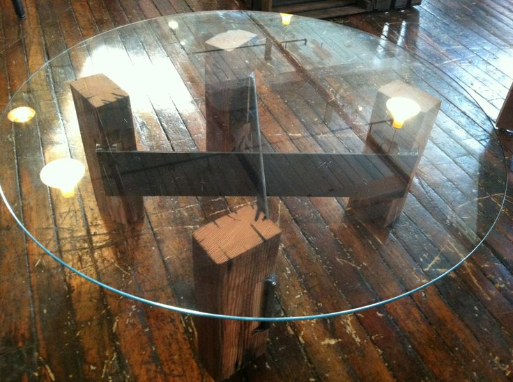 Round Coffee Table made with Reclaimed wood and recycled steel base with  Glass top  Wood column Base is adjustable for look only   Pinterest    Column base. Round Coffee Table made with Reclaimed wood and recycled steel