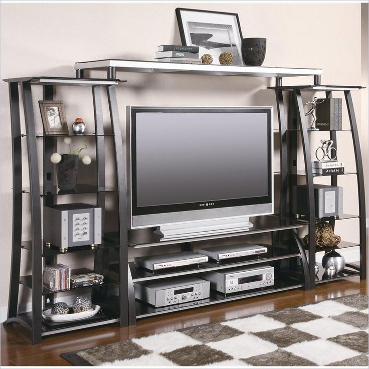 Coaster Contemporary Metal and Glass Entertainment Center - 700681+2x2+3-KIT - Lowest price online on all Coaster Contemporary Metal and Glass Entertainment Center - 700681+2x2+3-KIT