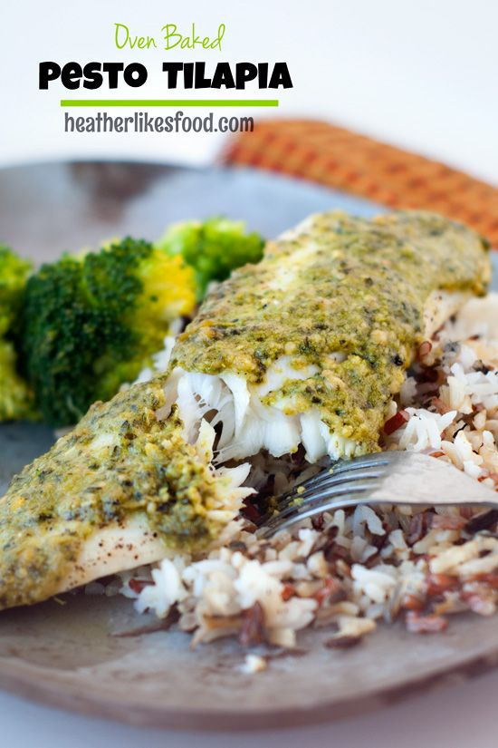 All you need is two ingredients, a little salt and pepper and 20 minutes to have this pesto tilapia on your dinner table! It's so easy and flavorful!