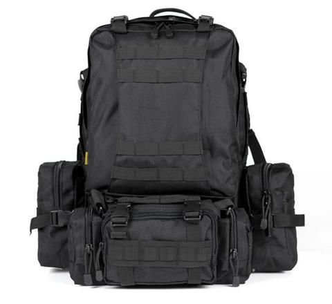 Military Style Tactical Backpack Camouflage Combo Molle System With 4 Additional Molle Bags - 8 Colors