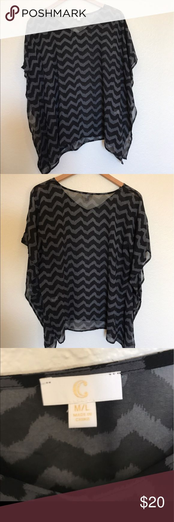 NWOT Charming Charlie's Batwing Coverup Top NWOT Charming Charlie's batwing chevron swim caftan. Black and grey chevron pattern. Batwing sleeves. 100% polyester. Never been worn (given to me as a gift). Charming Charlie Tops Blouses