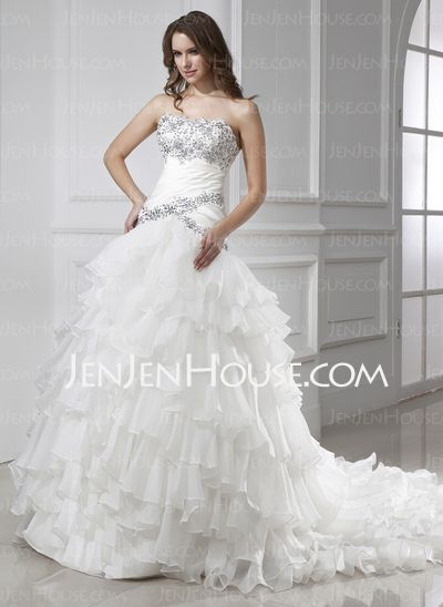 Wedding Dresses - $236.99 - Ball-Gown Strapless Chapel Train Organza Satin Wedding Dress With Ruffle Beadwork (002015455) http://jenjenhouse.com/Ball-Gown-Strapless-Chapel-Train-Organza-Satin-Wedding-Dress-With-Ruffle-Beadwork-002015455-g15455