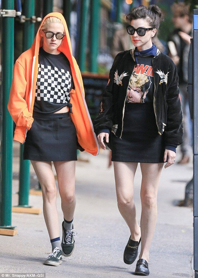 Out and about: Kristen Stewart and Cara Delevingne's ex St. Vincent were spotted strolling in New York on Tuesday, sparking rumours that they are an item