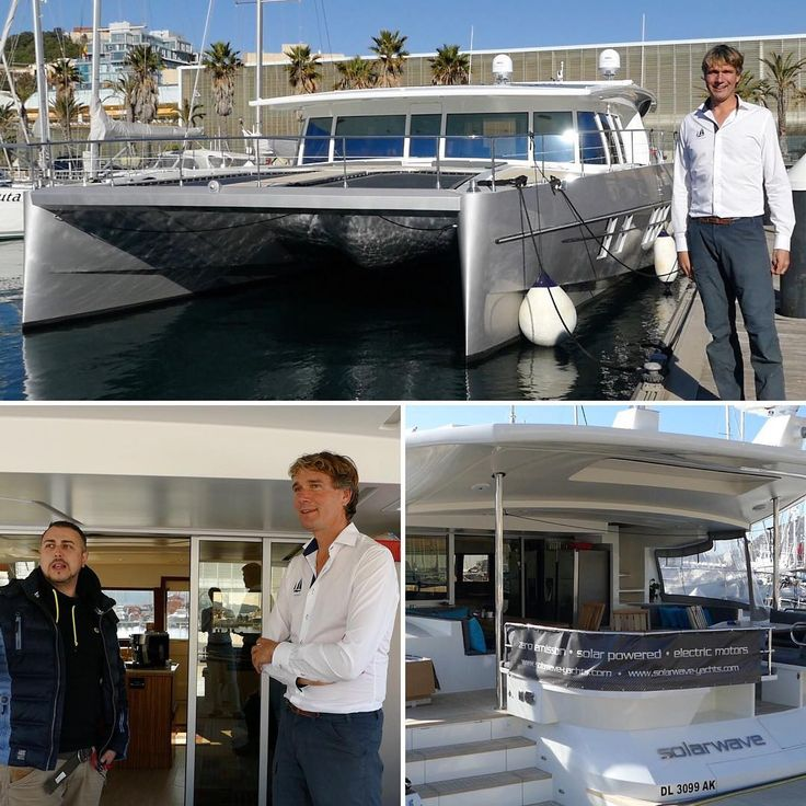 The future in boating has arrived! Moored at the Yacht Port Cartagena we get a chance to visit the SolarWave 62 - a catamaran that runs on solar energy. Owner Samuel gives us a full tour before he embarks on a silent emission-free transatlantic trip later this week.  Coincidentally it is our second encounter with a SolarWave after meeting Falk Viczian Solarboot-Projekte gemeinnützige GmbH in Corfu last summer. #solarwave #catamaran #emissionfree