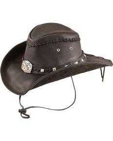 Bullhide Thunderstruck Leather Cowboy Hat, Black