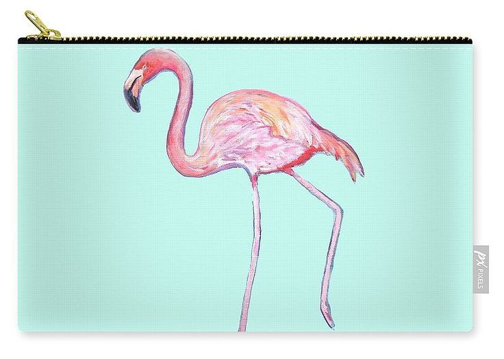 Flamingo On Mint Background Carry-all Pouch featuring the painting Flamingo On Mint Background by Kristen Abrahamson