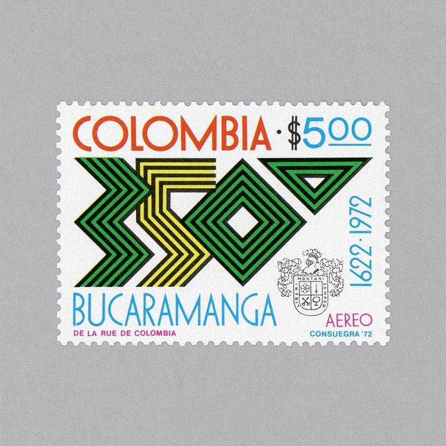 The 350th Anniversary of Bucaramanga City. Colombia, 1972. Design: David Consuegra http://grafiktrafik.tumblr.com