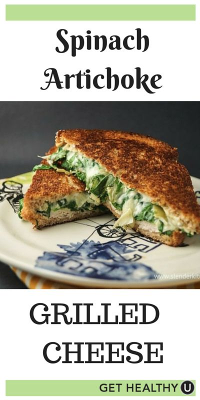 This Spinach Artichoke Grilled Cheese recipe is seriously so good. Plus, I love that it's under 300 calories. Most grilled cheeses are double that!