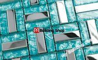 Ssmt079 mozaika backsplash mozaiki szklanej płytki ze stali nierdzewnej srebrny niebieski mozaiki szklanej płytki basen mozaiki