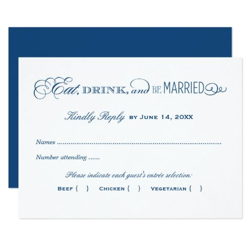Vintage Wedding Rehearsal Dinner Wedding Reply Card | Navy Blue