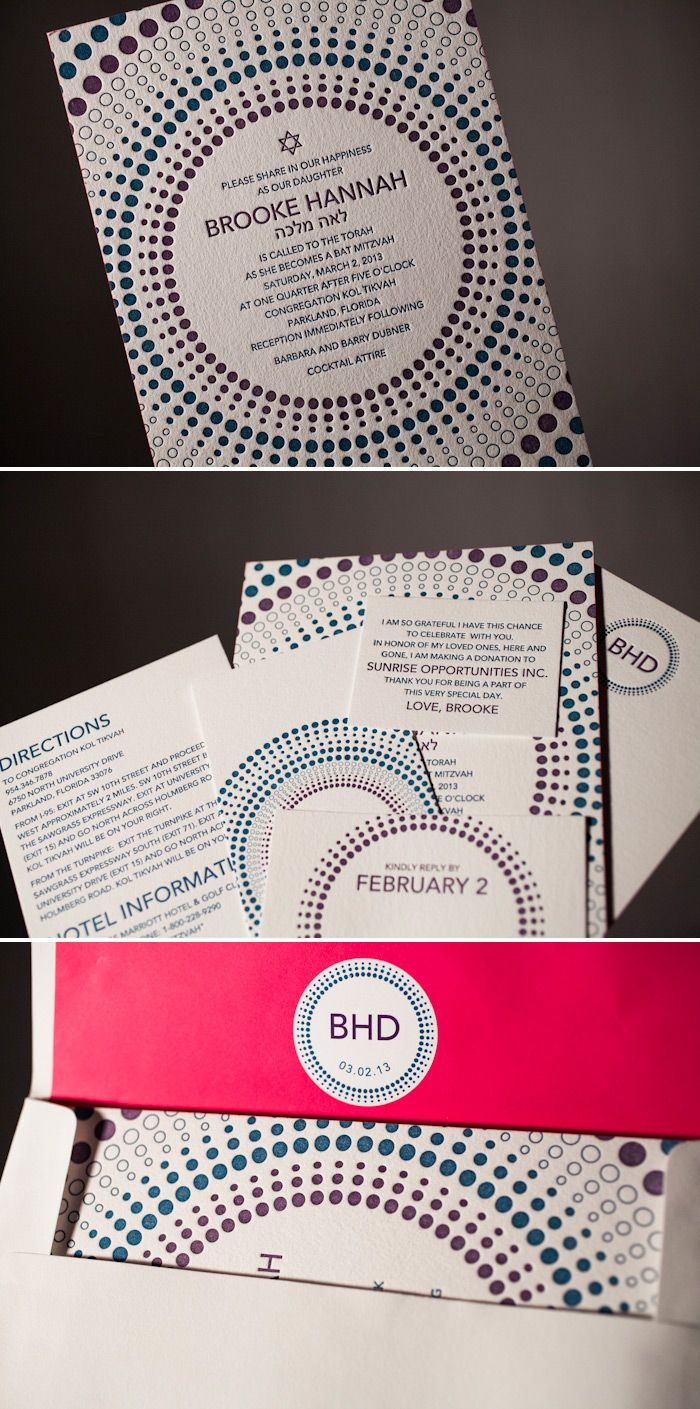 Letterpress bat mitzvah invitations by Bella Figura in colorful inks.