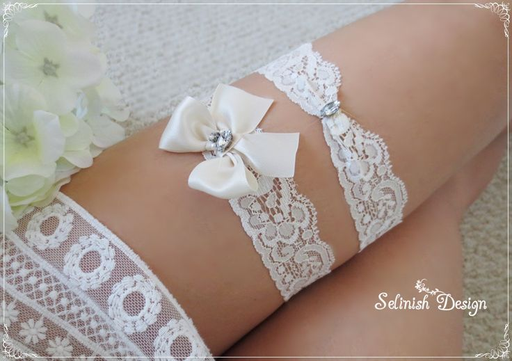 Ivory Wedding Garter Set, Lace Garter, Cream Ivory Garter, Something Ivory, Garter Set, Bow Garter- code: G155cream by SelinishDesign on Etsy