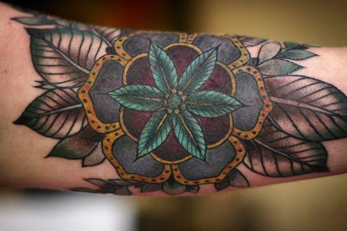 Deep Colors, Flower of life tattoo Elbow left arm http://tattooesque.com