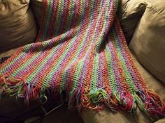 Color fusion throw:  two strands of yarn held together, all done in HDC with hook size Q.